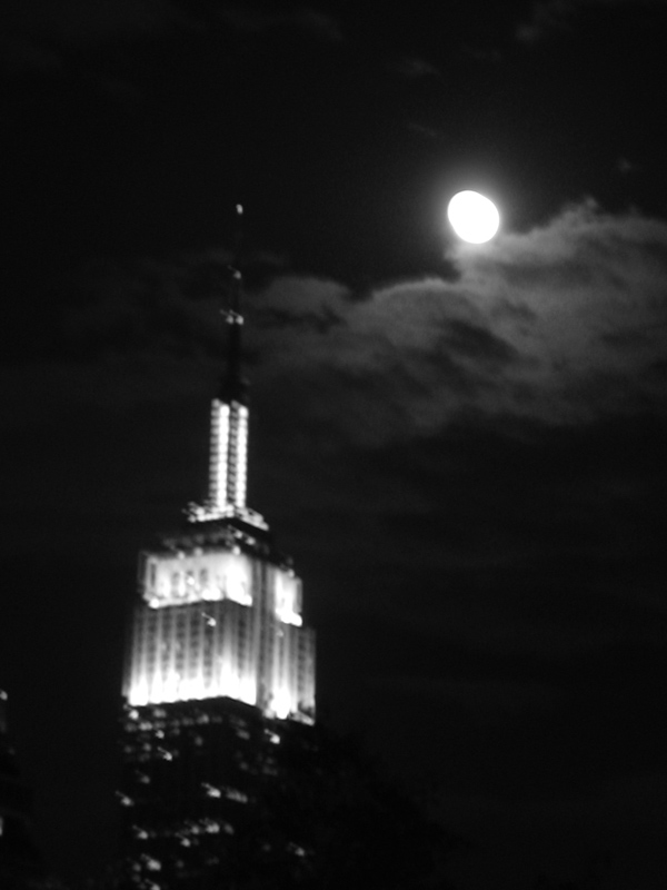 Empire State Building with Full Moon