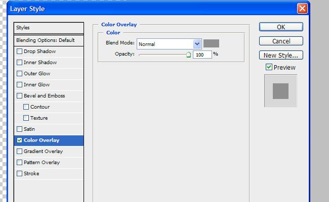 Photoshop's Color Overlay Dialog Box