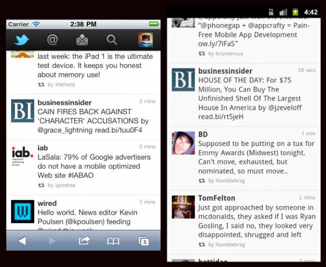 Twitter's mobile site on iOS and Android