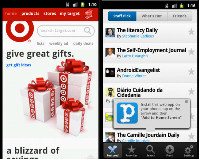 Target and Paper.li's mobile websites