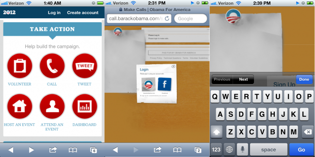 Obama responsive site broken call button