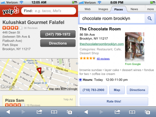 Yelp and Google Local tel links