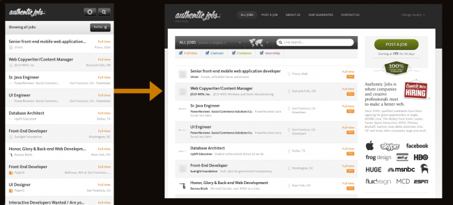 Authentic Jobs responsive nav