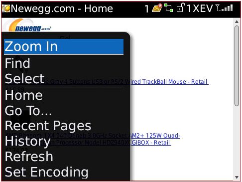 Blackberry Web Menu