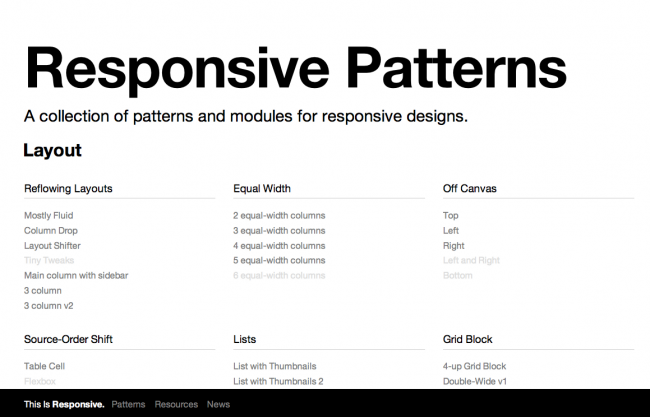 Responsive Pattern Library