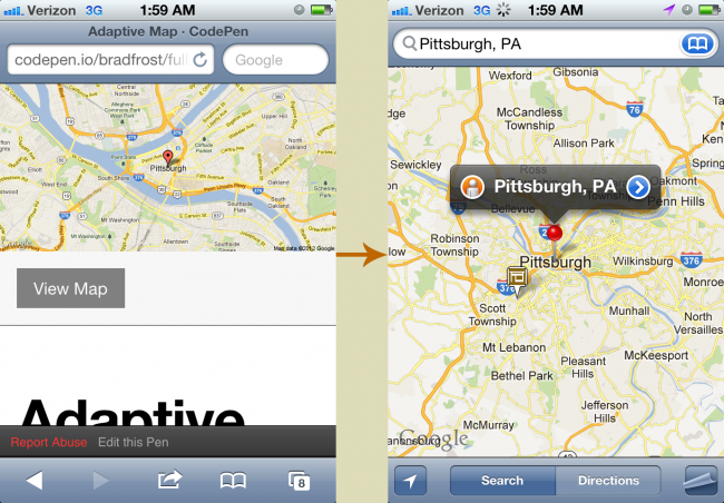 Links to Google Maps in Mobile Safari Opens the native Maps application