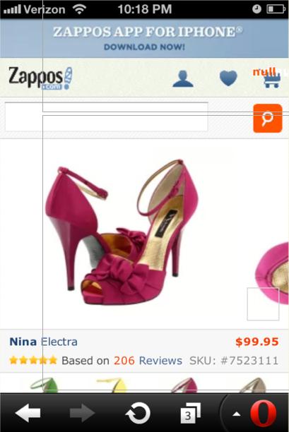Zappos mobile site carousel fail