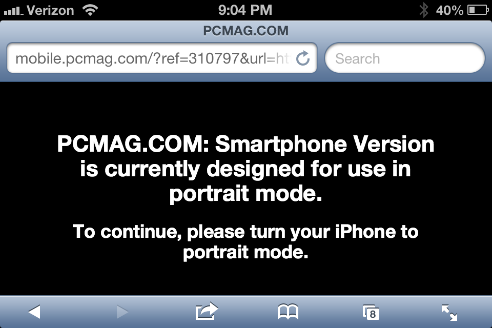 PC Mag smartphone version is currently designed for use in portrait mode