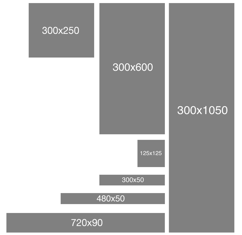 Different FPO ad unit sizes