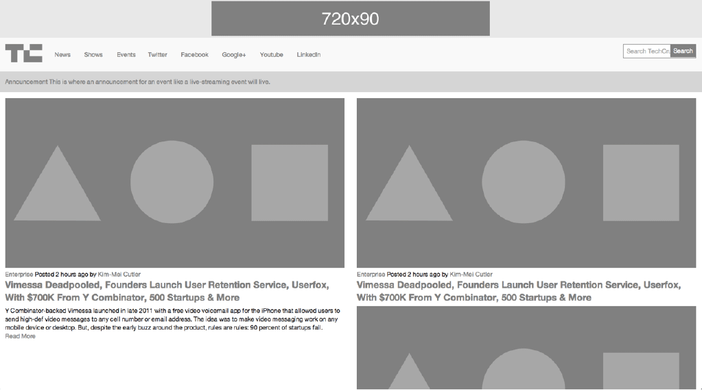 TechCrunch HTML wireframe