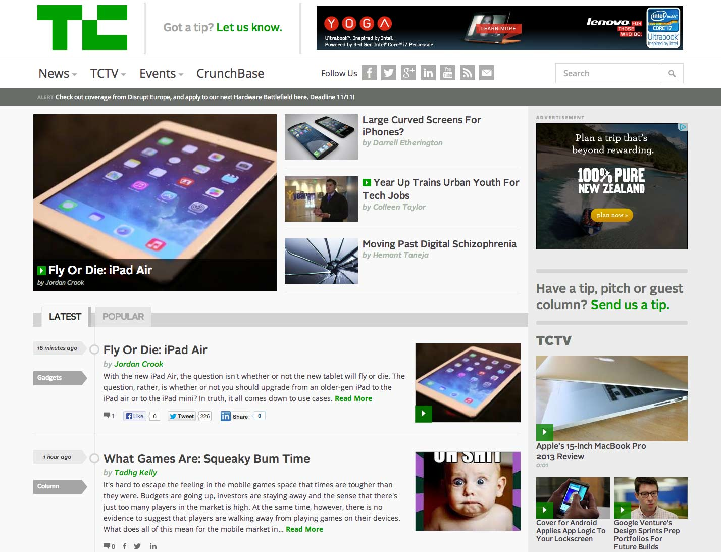 TechCrunch responsive design