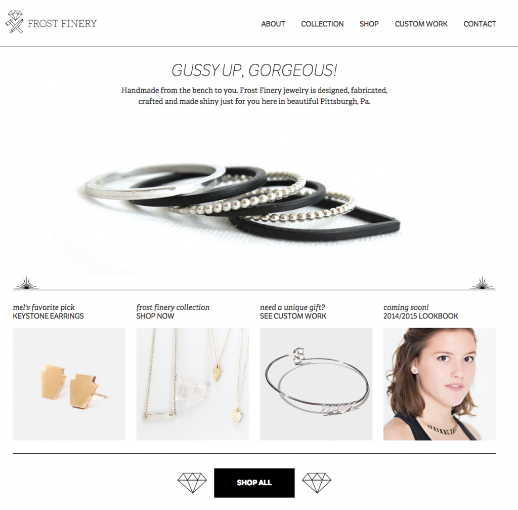 Frostfinery.com homepage