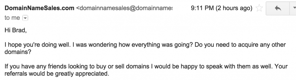 Solicitation email from domainnamesales.com