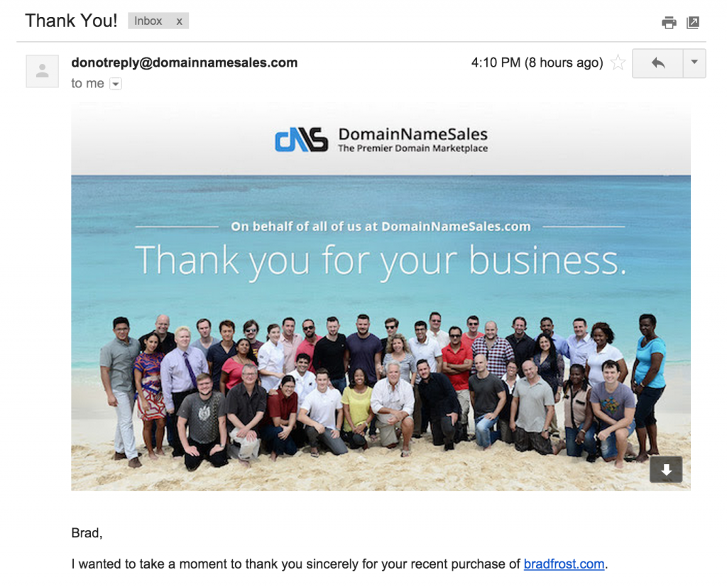 Insulting email from Domainnamesales.com thanking me for my business