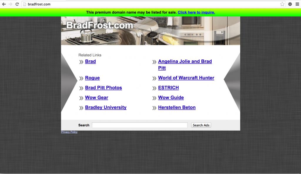 Bradfrost.com ad-stuffed domain landing page