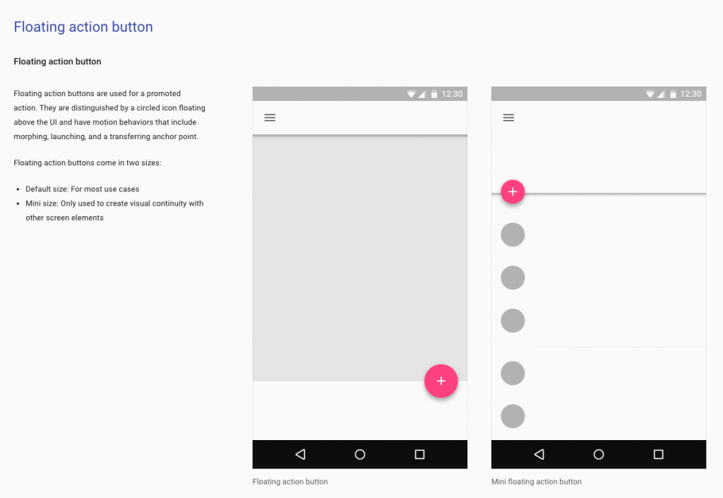 Material Design shows context for its UI components using plenty of images and videos