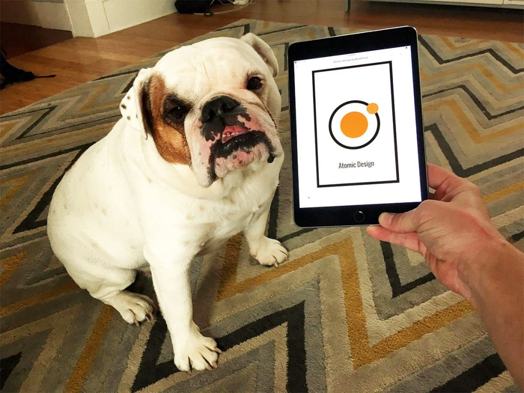 Ziggy the model bulldog with the Atomic Design ebook on an iPad