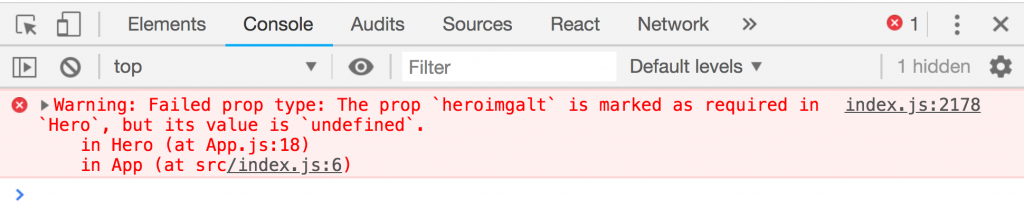 Google Chrome dev tools console displaying a message: Warning: Failed prop type: The prop `heroimgalt` is marked as required in `Hero`, but its value is `undefined`. in Hero (at App.js:18)