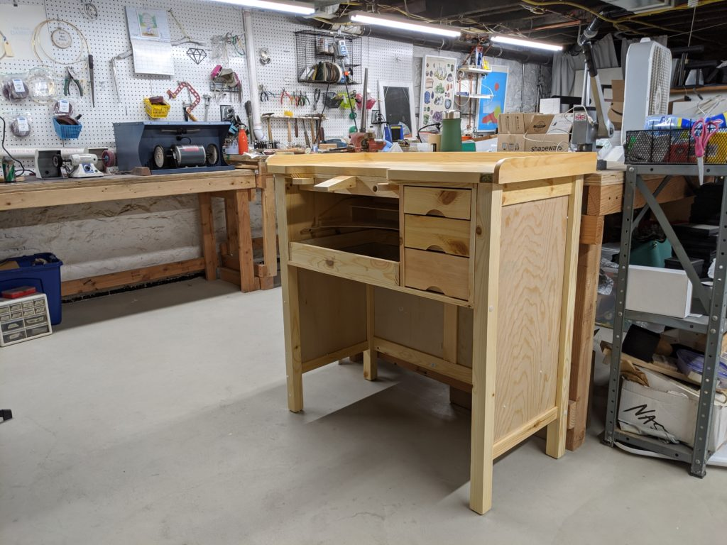 Jeweler's bench successfully assembled in Frost Finery's headquarters