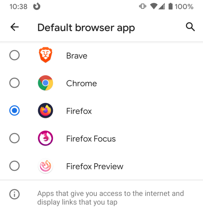 Screenshot of Android change default browser app screen, showing a radio list containing Brave, Chrome, Firefox, Firefox Focus, and Firefox Preview