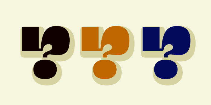 Three stylized question marks